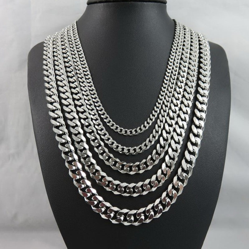 Stainless Steel Wholesale Men Necklace Man Accessories Women Punk Hip Hop Jewelry Male Curb Cuban Link Chains Men's Necklaces