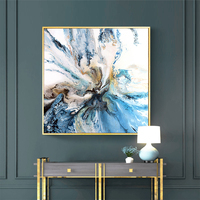 handpainted Minimalist Art Giclee Abstract oil painting Blue Bold Art Coastal Landscape Wall Pictures For Living Room Home Decor