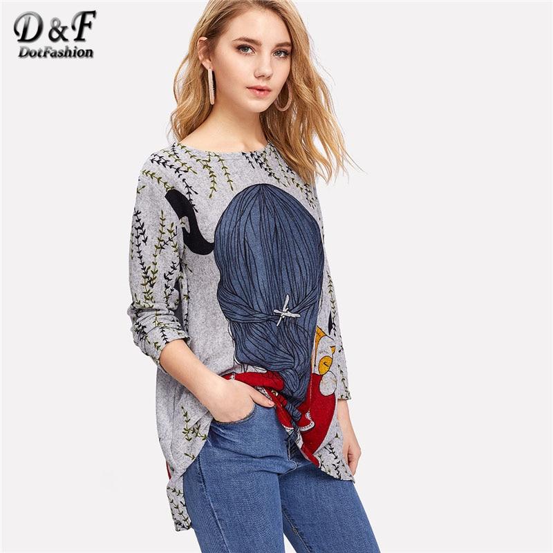 Dotfashion Cartoon Print Back Longline Tee   Shirt   2019 New Arrival Spring Round Neck Woman Top Long Sleeve Longline   T     Shirt