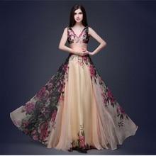Vestidos De Fiesta Vintage Bruidsmeisje Jurken Elegante A Line V hals Lange Chiffon Foral Print Wedding Partij Jassen Robe De soiree