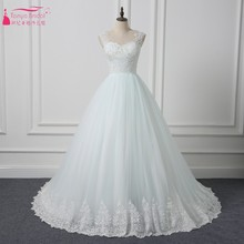 TANYA BRIDAL Lace Style Long Train Ivory Bride Dress Gown