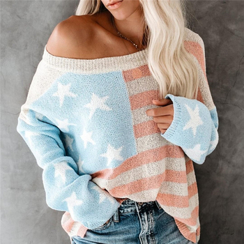 Patchwork Sweater For Autumn Winter 2019 Fashion Loose Women's Pullover Knitted Striped O-Neck Long Sleeve Female's Sweaters goplus women s knitted sweater o neck autumn pullovers loose flare sleeve colorful striped pullover coat kleding vrouwen c9503