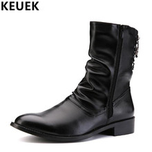 Pointed Toe British style Men Mid-Calf boots Genuine leather Warm Winter Male Motorcycle boots 022