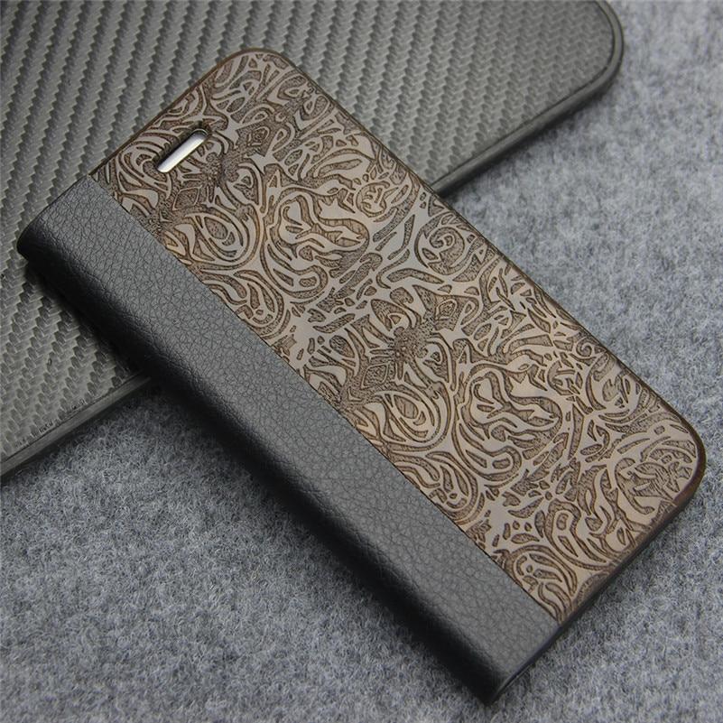 bilder für Leder Flip Fall für iPhone 7 Brieftasche Coque Natürliche Hardmade holz Schützende Telefon-beutel-abdeckung für Apple iPhone 7 4,7 zoll