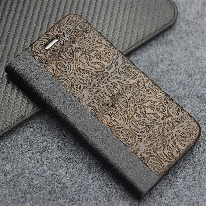 Цена за Натуральная кожа флип чехол для iPhone 7 Бумажник Обложка натуральный hardmade древесины защитной телефона Чехлы для Apple iPhone 7 4.7 дюймов