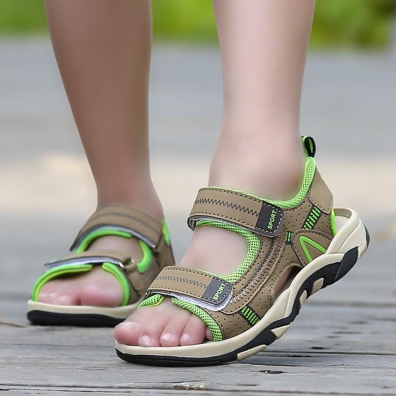 Children Beach Shoes Summer New Kids Sandals Leather Wear Baby Casual Flat Shoes Top Boy Shoe Tide Hook & Loop Men 3 Colors Size
