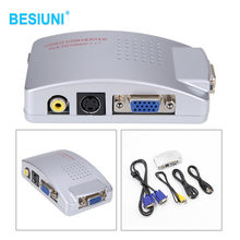 BESIUNI VGA Ke TV AV RCA Sinyal Adapter Converter Video Beralih Box Komposit untuk Komputer Laptop PC(China)