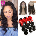 Pre plucked Malaysian virgin hair with 360 Lace Frontal Band Closure Body wave,Malaysian Human hair with closure 3 bundle deals