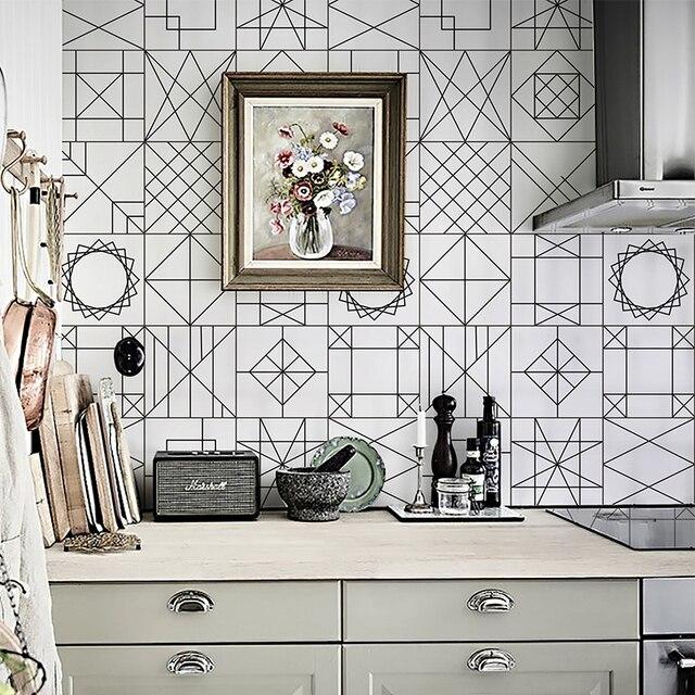 Creative Geometric Design Self Adhesive Wallpaper Kitchen Cooking
