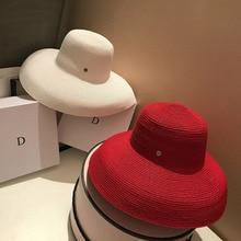 13cm Wide Brim Beach Sun Hat Big Floppy Women Summer Red Black White UV Block Straw Foldable Travel Derby