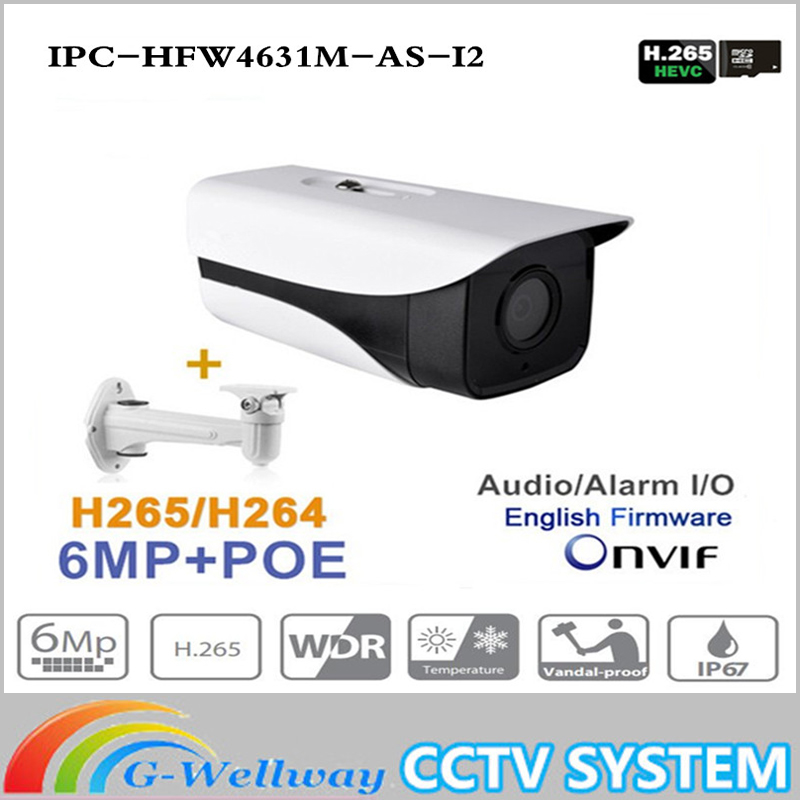 ahua IPC-HFW4631M-AS-I2 6MP IP Camera built-in POE SD Card slot Audio Alarm interface IP67 IR80M outdoor IP Camera Free shippin ahua 6mp ip camera ipc hfw4631k as i4 ip67 built in 4 leds ir120m with audio