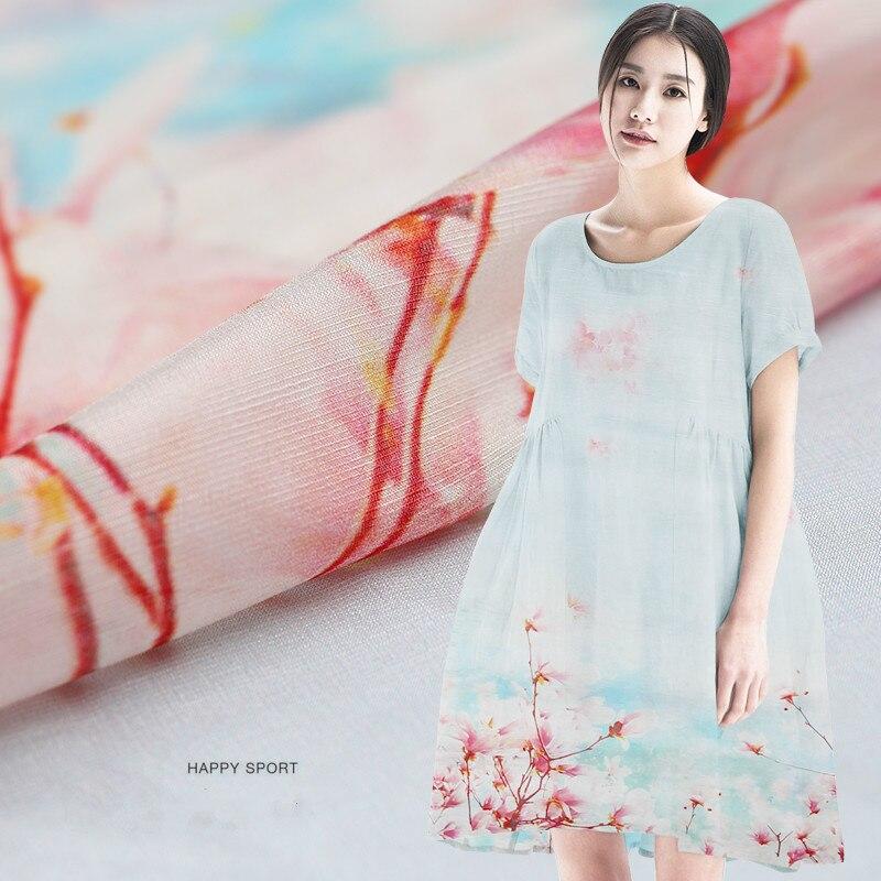 Tissu en lin tranché numérique jet d'encre en soie lin tissu imprimé vêtement en soie robe en mousseline de soie tissu ligne clairance tissu en soie