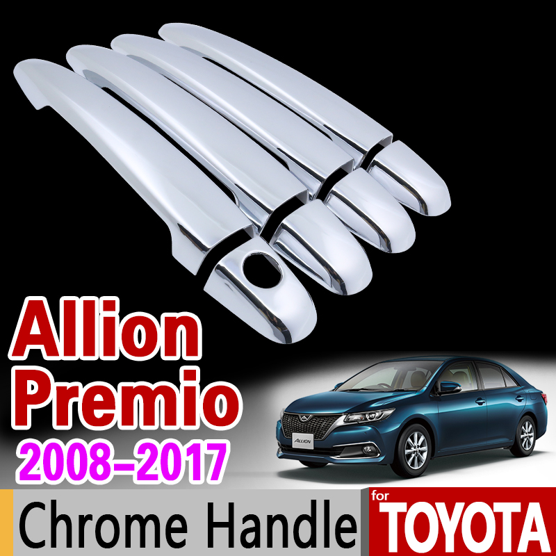 for Toyota Allion Premio 2008 - 2017 T260 Chrome Handle Cover Trim Set 2009 2011 2012 2013 2015 2016 Car Accessories Car Styling for suzuki splash 2007 2014 chrome handle cover trim set of 4door 2008 2009 2010 2011 2012 2013 accessories sticker car styling