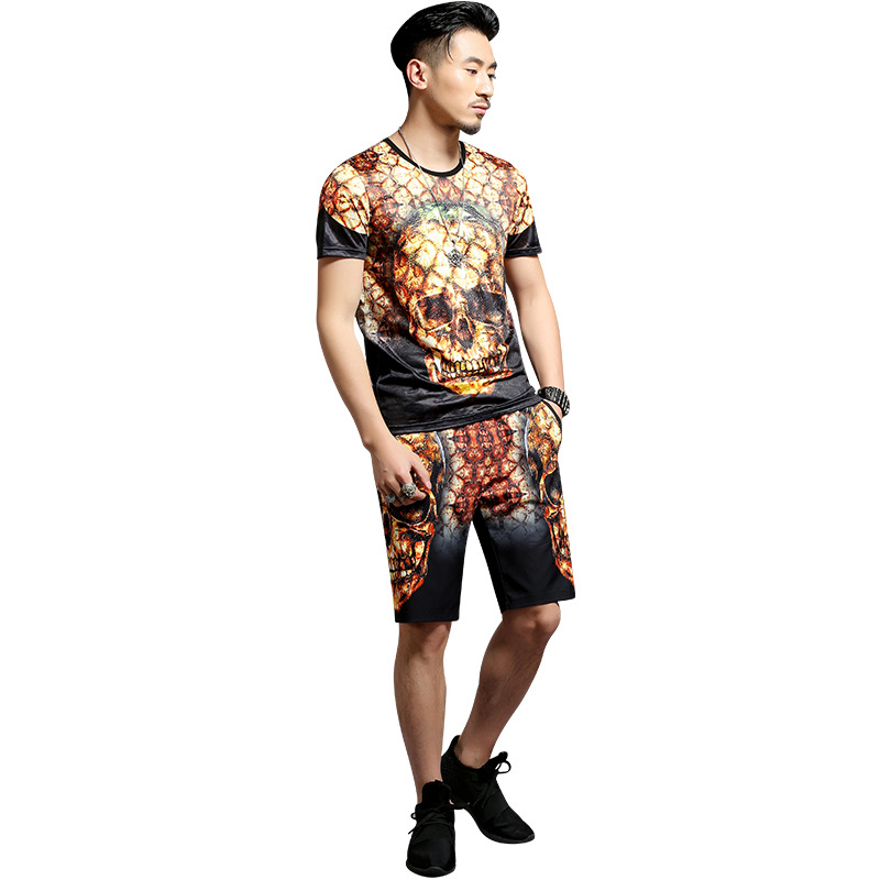 European style creative skull 3D printing hip hop t shirt and shorts set Summer 2018 New quality soft comfortable tracksuit men