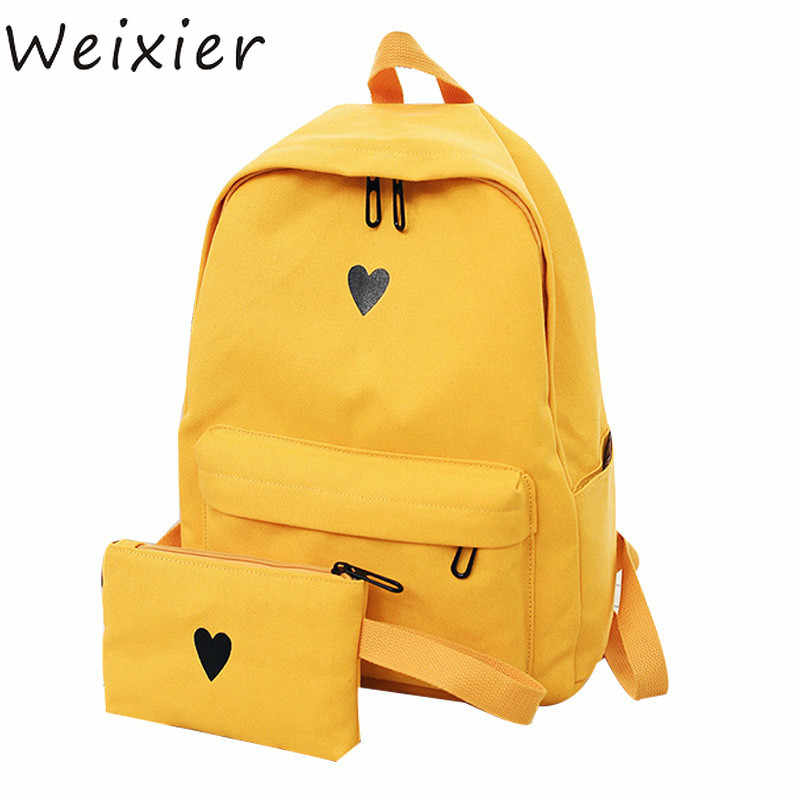 688ab52f436a 2019 High Quality Canvas Printed Heart Yellow Backpack Korean Style  Students Travel Bag Girls School Bag