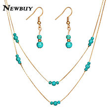 NEWBUY 2018 Trendy Women Bohemian Party Jewelry Sets Gold/Silver Color Double Layer Choker Necklace Dangle Earrings oorbellen(China)