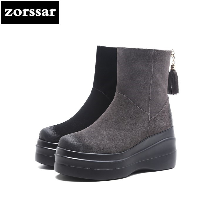 все цены на {Zorssar} 2018 Warm Plush Snow Boots Women Ankle Boots platform high heel boots Suede leather Winter woman shoes free shipping