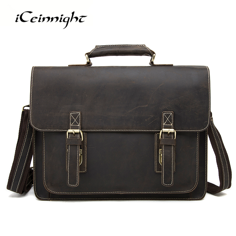 iCeinnight New Genuine Leather Briefcase Men Crazy Horse Leather Laptop Bag Men Handbags Business Man Shoulder Bag Travel Bags free shipping ac220v 240v coil red led general purpose power relay 4pdt 14 pin hh64p