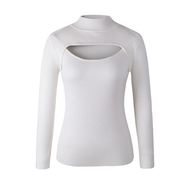 Japanese Fashion Women Sexy Anime Keyhole Sweater Turtleneck Knit Pullovers Lovely Open Chest Cutout Outfits