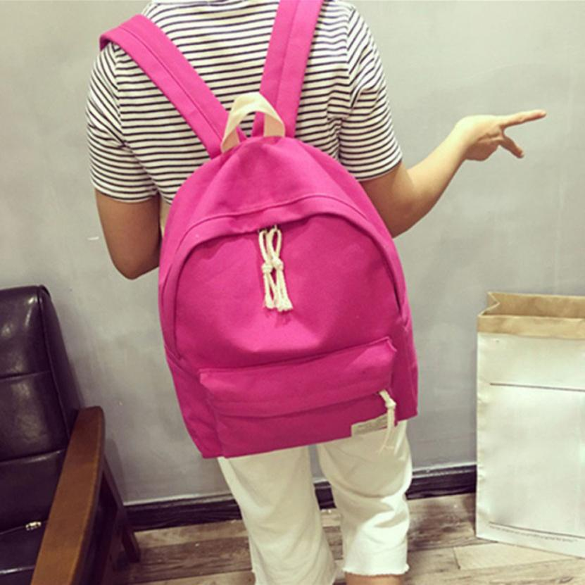 100% Cotton School Bags For Teenagers Solid Color Mochila Double Zipper Rucksack Women Zaini Scuola #1010