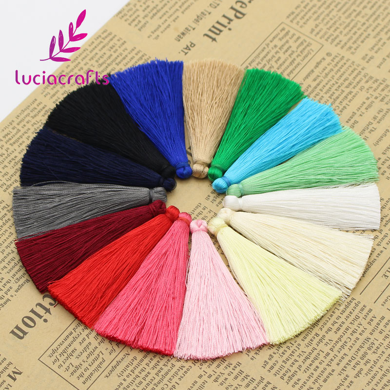 Lucia crafts 65mm Multi color option Rayon tassels Brush earrings  Sweater chain accessories DIY materials 5pcs 044001037