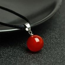 16 मिमी दौर मोती प्राकृतिक लाल Agate हार लटकन क्रिस्टल जेम पत्थर आभूषण ऊर्जा पुरुषों के लिए भाग्यशाली उपहार पुरुषों कार्नेलियन गोमेद