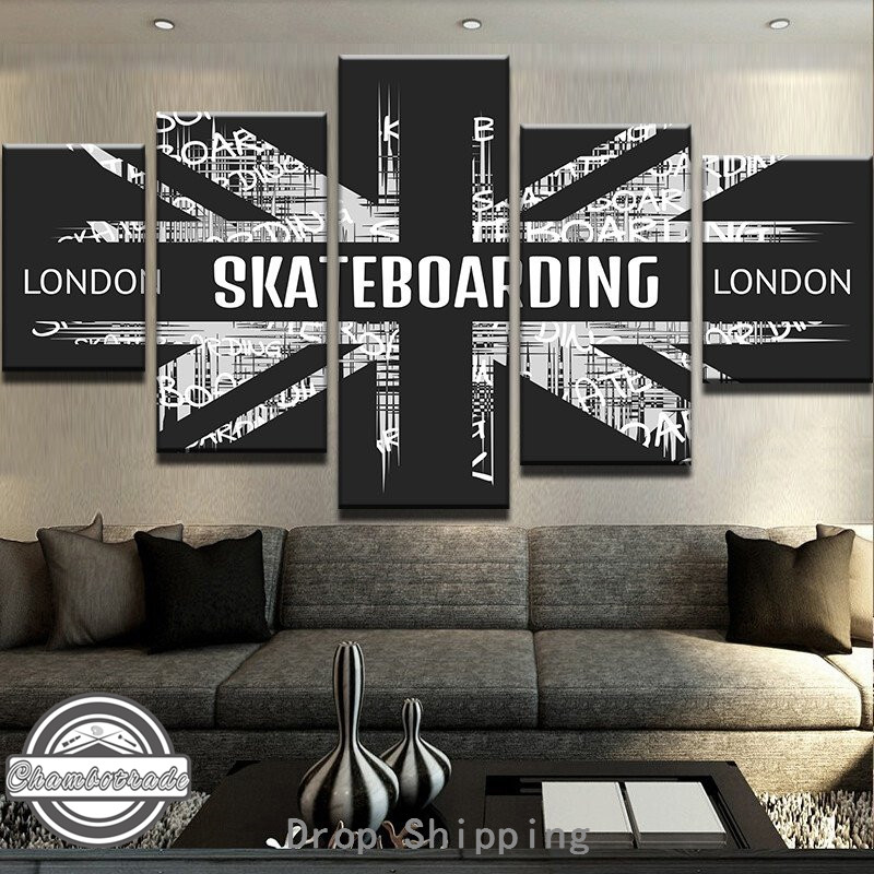 5 Pieces Modern Canvas Painting Artwork London Skateboarding Paintings on Canvas Wall Art for Home Decorations Wall Decor Art
