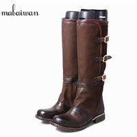 Mabaiwan Модные женские туфли Сапоги до колена из натуральной кожи гладиаторы ковбойские ботинки Для женщин Военная Униформа ручной работы Туф