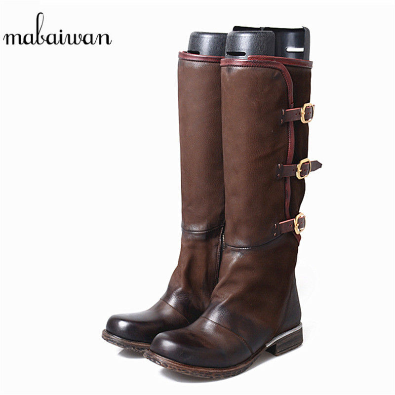 Mabaiwan Fashion Women Shoes Genuine Leather Knee High Boots Gladiator Cowboy Boots Women Military Handmade Flats Botines Mujer mabaiwan handmade rivets military cowboy boots mid calf genuine leather women motorcycle boots vintage buckle straps shoes woman