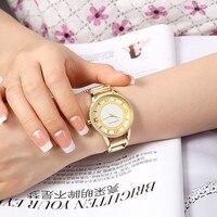 Luxury Brand CRRJU Quartz Watch Women Gold Steel Bracelet Watch 30M Waterproof Fashion Ladies Dress Watch