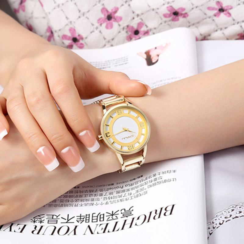 Prix pour Marque de luxe CRRJU Quartz Montre Femmes Or Bracelet En Acier Montre 30 M étanche Dames De Mode Robe Montre relogio feminino
