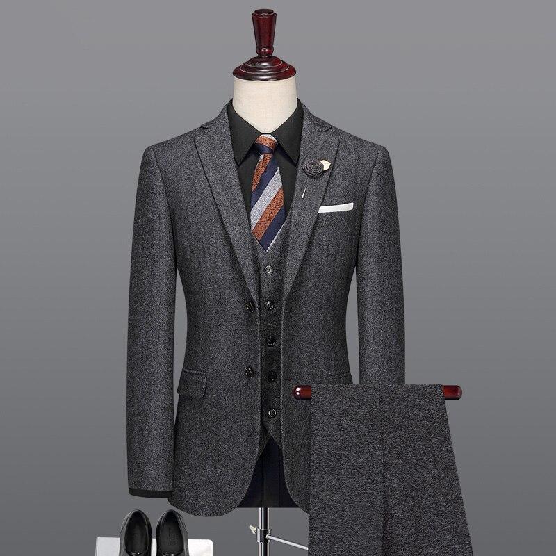 40% шерсть мужчин костюм серый теплые зимние мужские костюмы с Штаны Формальные slim fit однобортный фасон Отец День подарков Блейзер жилет брюк