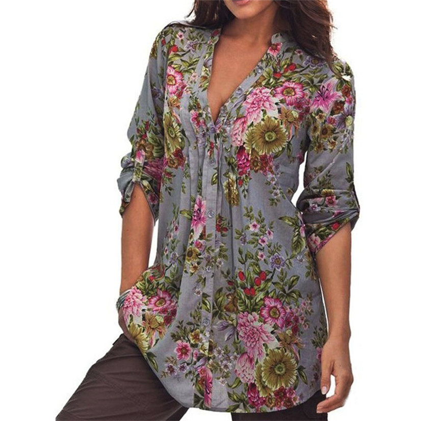 Free Shipping Lady Vintage Floral Print V-neck Tunic Tops Women's Fashion Plus Size Tops Shirt 80521 Drop Shipping