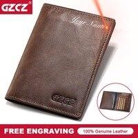 GZCZ Luxury Brand Men Genuine Leather Passport Cover Wallet Travel Walet Slim Fashion Money Purse Case