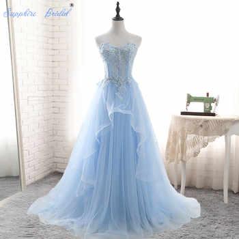Sapphire Bridal Soft Light Weight Blue Wedding Dress Vestido De Noiva Sweetheart A Line Lace Appliques Beaded Wedding Dress - SALE ITEM Weddings & Events