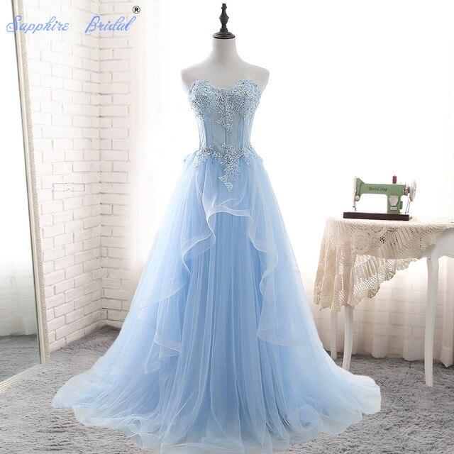 blauwe trouwjurk