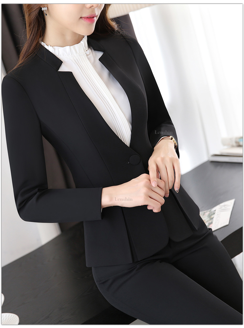 2 piece Gray Pant Suits Formal Ladies Office OL Uniform Designs Elegant Business Work Wear Jacket with Trousers Sets 28