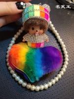 2017 fashion Christmas gift monchichi fur pompom Rainbow series Inlay Crystal color Doll Key ring keychain Woman Bag pendant