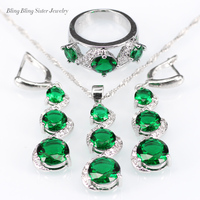 L & B Mode Bijoux Ensembles vert créé émeraude charms argent 925 d'origine Boucles D'oreilles/Pendentif/Collier/Anneaux pour les Femmes