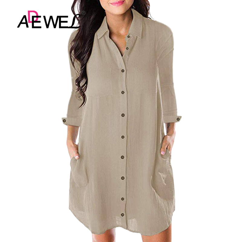ADEWEL Womens Tops and Blouses Spring Summer Casual Shirts Button Long Sleeve Loose Blouse Turn-down Collar Blusas 2019 Plus XXL