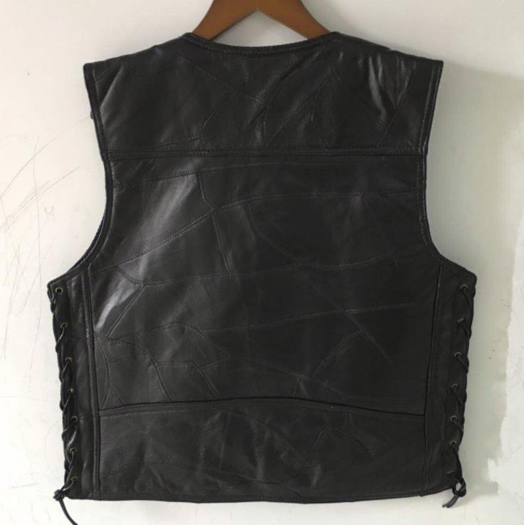 443f74fcd45fe BONJEAN marque hommes lacets latéraux réglable en cuir noir veste de ...
