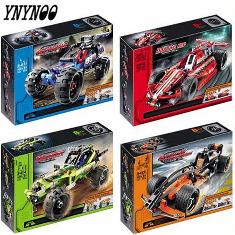 YNYNOO 2017 new hot sale decool 3411 warrior off-roader racer pull back technic car Building Block Sets Toys