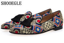 SHOOEGLE Luxury Men Handmade Multicolor Wedding Shoes Male Casual  Smoking Loafers Man Floral Embroidered Tassel