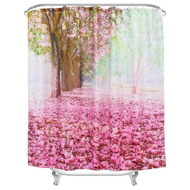 Heißer Verkauf Kirschbaum Muster Wasserdichtes Gewebe Duschvorhang Mit 12  Haken Badezimmer Dekoration