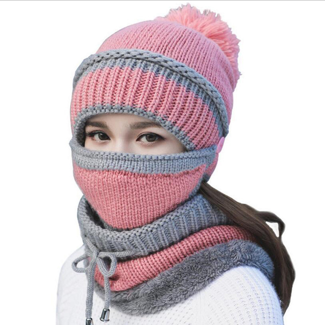 2018 Women Hat Scarf Winter Sets Cap Mask Collar Face Protection Girls Cold  Weather Accessory Women Ball Caps Scarf Knitted Wool 708be2c950c