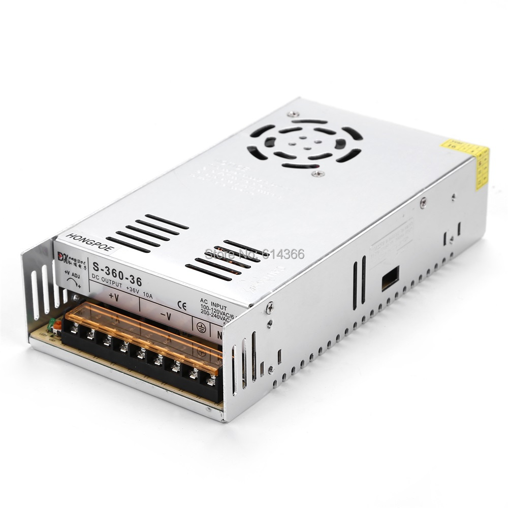36PCS Best quality 36V 10A 360W Switching Power Supply Driver for LED Strip AC 100-240V Input to DC 36V10A 36pcs best quality 12v 30a 360w switching power supply driver for led strip ac 100 240v input to dc 12v30a