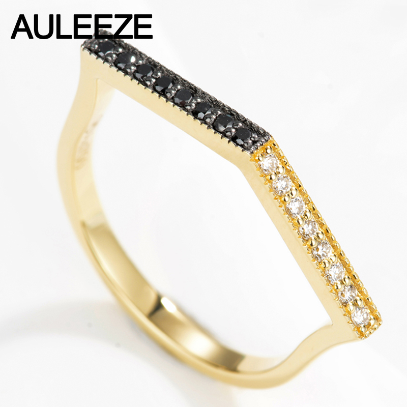 AULEEZE Personality Natural White Black Diamond Band Solid 18K Yellow Gold Diamond Rings For Women Real Diamond Fine Je цена