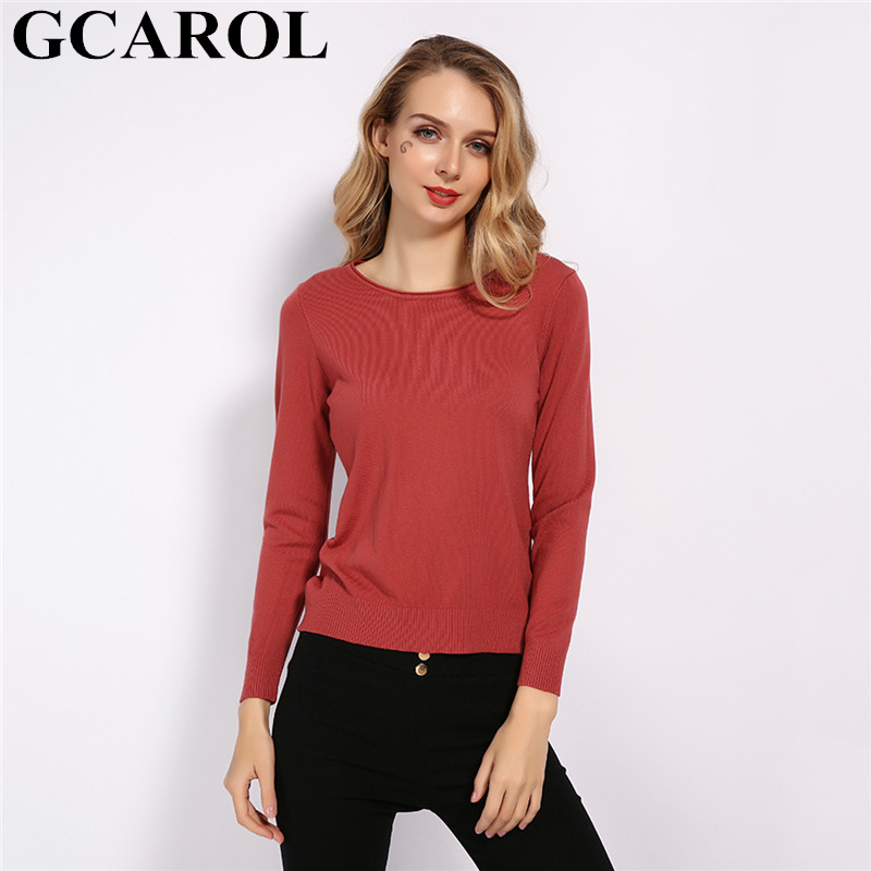 GCAROL 2019 Fall Winter O Neck Knit Jumper Women 30% Wool Sweater Candy Thin Basic Render Knit Tops Stretch Knitwear S-2XL