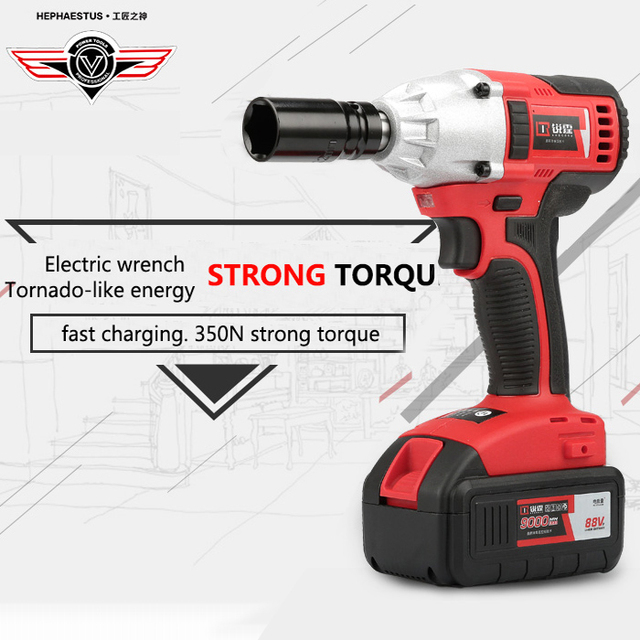 88v Brushless Wrench Cordless Rechargeable Lithium Battery Car Socket Impact Digital Electric 350n Strong Torque