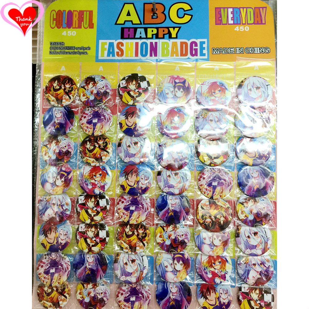 Love Thank You NO GAME NO LIFE 45MM 16/24/32/40/48 հատ շատ PIN BACK BADTON BUTTON BROOCH for BAG GIFT TOY CLOTH Cartoon & anime